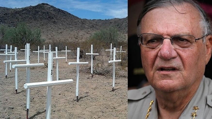 Maricopa County Sheriff Joe Arpaio (right) and white border crosses (left) built by inmates to be placed on the border. (Getty Images)
