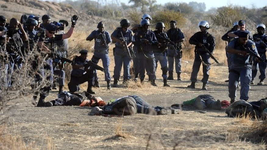 Police officers surround fallen miners after they opened fire during clashes near a platinum mine in Marikana, on August 16, 2012. South Africa on August 16 marks a year since the shocking massacre, faced with a fragile economy, tainted government and a disquiet labour force.