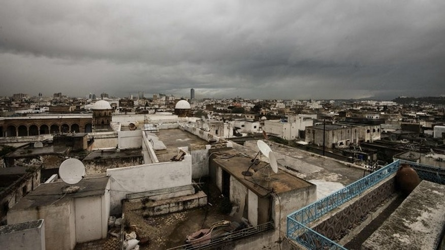 View from a rooftop shows buildings in central Tunis, on February 13, 2013. Rating agency Standard & Poor's downgraded debt issued by Tunisia by two notches on Friday because of rising opposition to the government.