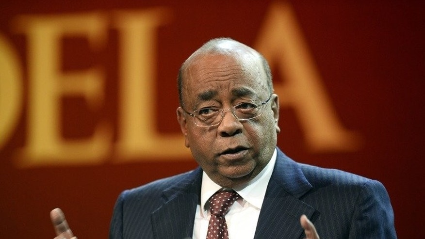 Sudanese-British billionaire Mo Ibrahim delivers a speech during the 11th Nelson Mandela Annual Lecture on August 17, 2013, in Pretoria, South Africa. Ibrahim on Saturday castigated Africa's ageing leaders for crowding out young blood.