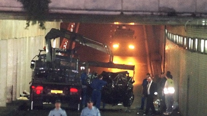 Photo dated August 31, 1997 shows wreckage of Princess Diana's car in the Alma Tunnel of Paris. British police said Saturday they were examining recently received information relating to the 1997 death of Diana, princess of Wales.