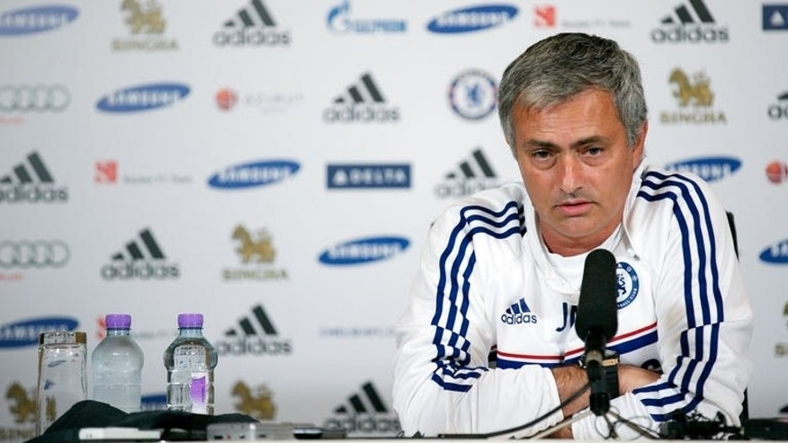Chelsea's Portuguese manager Jose Mourinho addresses a press conference at the club's training ground in Cobham, south-east England, on August 16, 2013. Chelsea play Hull City in their opening game of the 2013-2014 English Premier League football season on Sunday August 18.