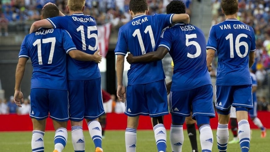 Chelsea players are shown during the match against AC Milan on August 4 , 2013 in East Rutherford, New Jersey.