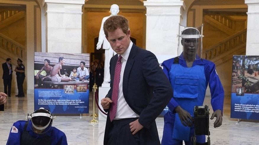 "Prince Harry tours an exhibit on landmines and unexploded ordnances in Washington, DC, on May 9, 2013. The prince has a ""bee in his bonnet"" about some countries' failure to remove landmines in Africa, the chief of The Halo Trust clearance organisation said Sunday."