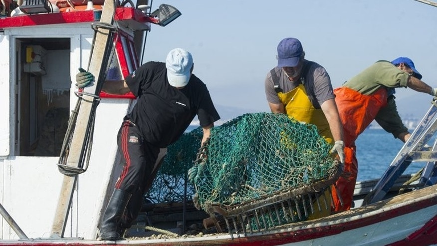 "Men from La Linea de La Concepcion fish on Friday in the area where Gibraltar dropped concrete blocks. The British-held territory's unilateral decision in July to set up an ""artificial reef"" to protect fishing grounds blocked Spanish fleets, infuriating Madrid."