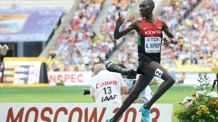 Asbel Kiprop celebrates after winning the World Championships 1500m final in Moscow on Sunday. The Kenyan clocked 3min 36.28sec, with American Matthew Centrowitz claiming silver in 3:36.78 and South African Johan Cronje taking bronze (3:36.83).