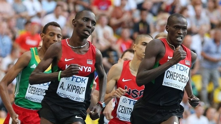 Asbel Kiprop (left) and team-mate Nixon Kiplimo Chepseba in the men's 1500m final in Moscow on Sunday. The 24-year-old Kiprop, who was crowned the 2008 Olympic champion but could only finish 12th in the London Games, was in total control of the race.