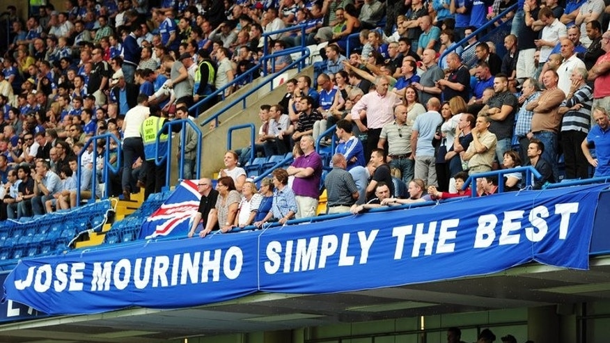 A banner supporting Chelsea's Portuguese Manager Jose Mourinho is displayed ahead of the English Premier League football match between Chelsea and Hull City at Stamford Bridge in London on August 18, 2013. Mourinho is back as Chelsea's manager six years after he left the club following a glorious three-year reign.