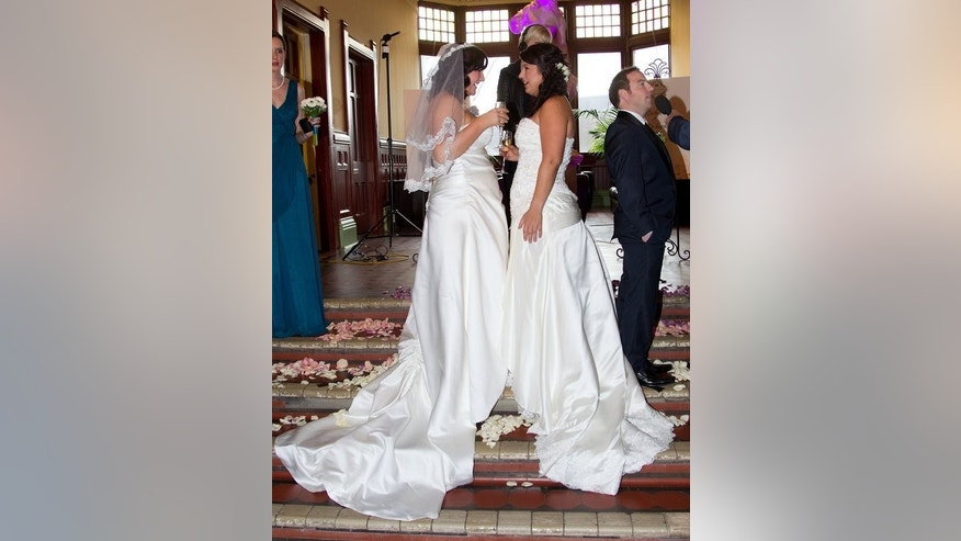 Jess Ives and Rachel Briscoe are among the first gay New Zealand couples to tie the knot, on August 19, 2013. More than 30 same-sex couples are due to say 'I do' on Monday.