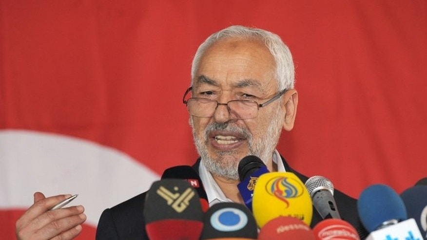Leader of the ruling Ennahda Islamist party Rached Ghannouchi speaks during a press conference on August 15, 2013 in Tunis. Ruling Islamist movement Ennahda and the opposition Nidaa Tounes said Sunday they have held secret talks in Europe to try to find a way out of Tunisia's political crisis.