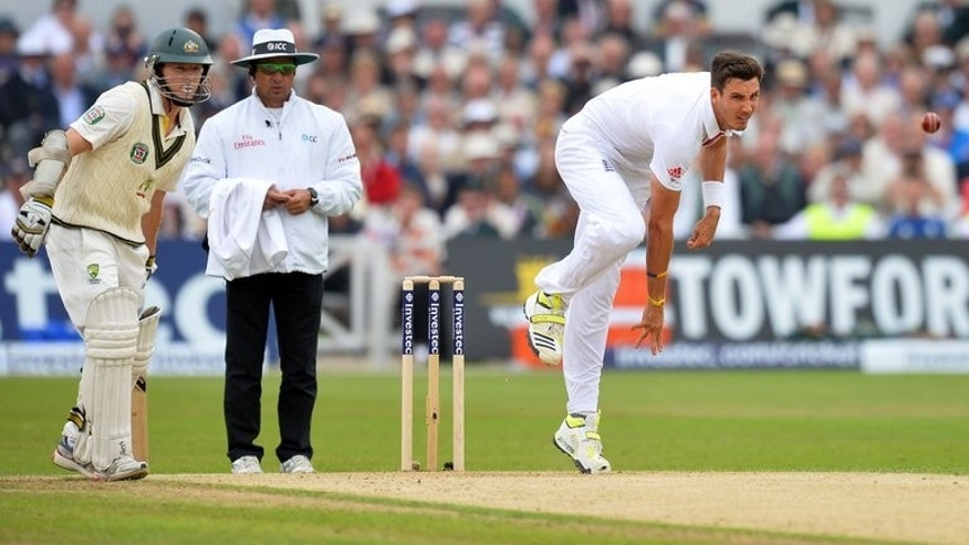 Steven Finn bowls against Australia in the first Test at Trent Bridge on July 10. The England have brought back Finn, who was dropped after the 14-run first Test win over Australia at Trent Bridge