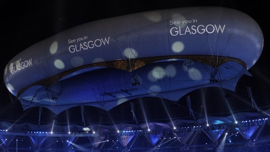 An aerostat displays text welcoming guests to Glasgow for the 2014 Commonwealth Games in New Delhi on October 14, 2010. Up to one million tickets for the Glasgow 2014 Commonwealth Games went on sale with under 16s given half-price concessions for the first time.
