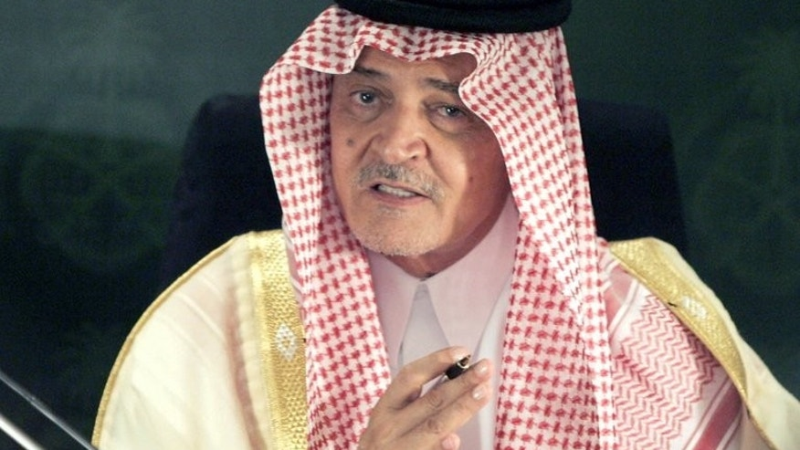 Saudi Foreign Minister Prince Saud al-Faisal pictured during a press conference held with US Secretary of State John Kerry (not pictured) in Jeddah, on June 25, 2013. Prince Saud said on Monday that Arab and Islamic countries will step in to help Egypt if Western nations cut aid packages to Cairo over its deadly crackdown on Islamist protesters.