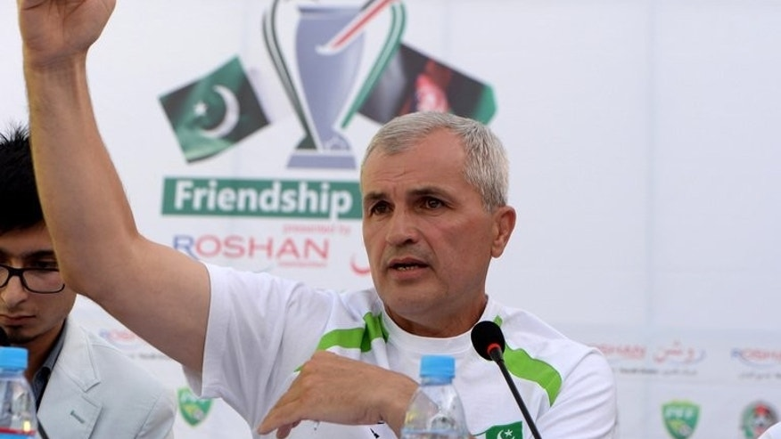 Pakistan head coach Zavisa Milosavljevi talks during a press conference at the Afghanistan Football Federation (AFF) stadium in Kabul on August 19, 2013.