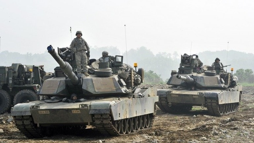 US soldiers duirng a US-South Korea joint river crossing exercise on May 30, 2013. North Korea on Tuesday accused South Korea's President Park Geun-Hye of provocative warmongering after fresh military drills kicked off.