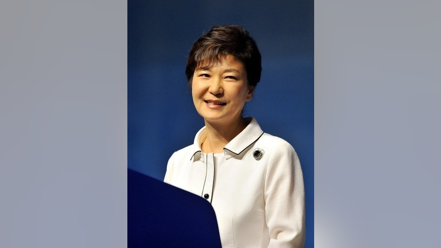 South Korean President Park Geun-Hye, pictured on August 15, 2013, made it clear the South should not drop its guard. The North described her comments as 'agitation for extreme confrontation'.