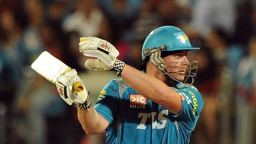 Pune Warriors India batsman Jesse Ryder plays a shot in Pune on May 19, 2012. Troubled New Zealand cricketer Ryder has been banned for six months after testing positive to outlawed substances contained in a weight-loss supplement, the New Zealand Sports Tribunal said Tuesday.