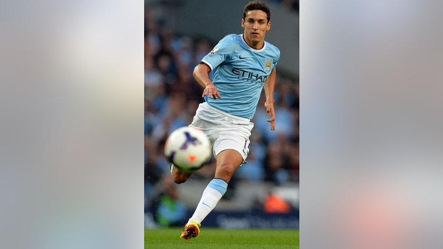 Manchester City's Spanish midfielder Jesus Navas runs after the ball during the English Premier League football match between Manchester City and Newcastle United at The Etihad stadium in Manchester, northwest England, on August 19, 2013. City won 4-0.