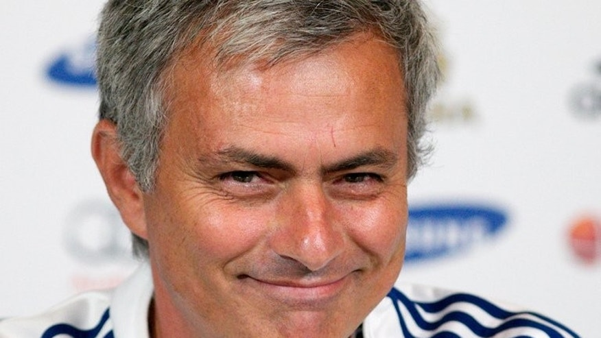 Chelsea's manager Jose Mourinho, pictured during a press conference at the club's training ground in Cobham, south-east England, on August 16, 2013. The Portuguese made his return to the home dug-out at Stamford Bridge on Sunday after six years away and quickly slipped back into the old routine, overseeing a 2-0 defeat of Hull City.