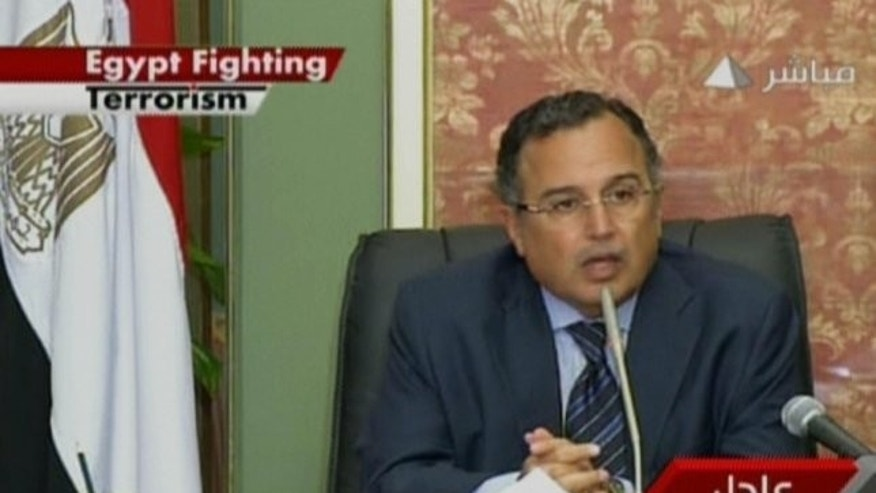 "An image grab taken from Egyptian state television shows Egypt's interim Foreign Minister Nabil Fahmy addressing the nation in Cairo on August 18, 2013. Egypt's media, both public and private, have lined up behind the government in portraying its fight against the Muslim Brotherhood as a ""war on terror"" and vilifying foreign journalists."