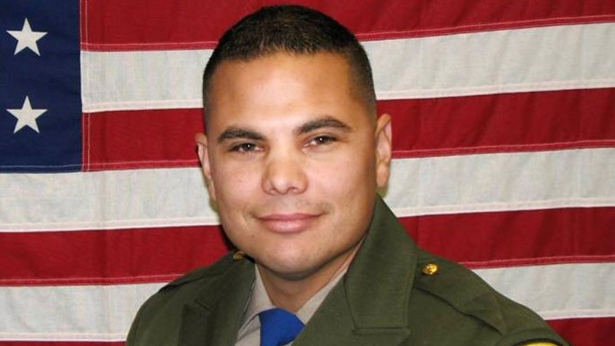 In an undated photo provided by the California Highway Patrol, shows CHP officer Jesus Magdaleno Jr., 33, an 8-year-veteran. The off-duty officer was killed Sunday, Aug. 18, 2013, after he and a friend Brandon Cruz, 31, jumped into the bed of Magdaleno's pickup truck while it was being stolen from the Flamingo hotel while it was being loaded with luggage for the trip home after the officerâs bachelor party. Magdaleno, was killed and Cruz, suffered a severe head injury and was in extremely critical condition Monday after both men were thrown from the truck as it crashed.  (AP Photo/California Highway Patrol)