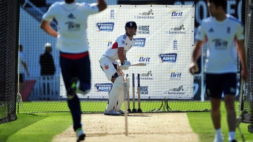 England's Alastair Cook (C) bats during a training session at The Oval cricket ground in London on August 20, 2013, ahead of the fifth Ashes Test match against Australia.