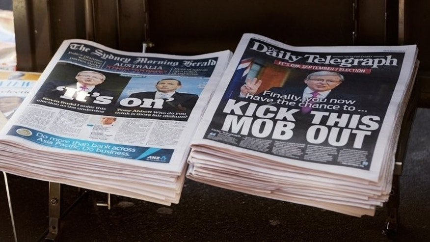 Rupert Murdoch's Sydney Daily Telegraph newspaper on August 5, 2013, calling on voters to 'kick this mob out'. Prime Minister Kevin Rudd has accused the mogul of orchestrating a campaign against him.
