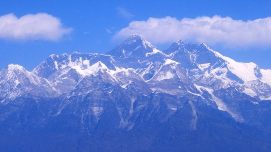 An aerial view of the Mount Everest range on February 6, 2012. Nepal will open five more peaks above 8,000 metres for mountaineers to scale when the autumn climbing season begins, a tourism official said Tuesday, a move largely welcomed by local climbers.