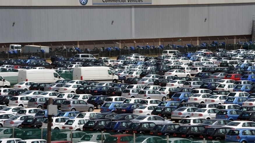 Hundreds of cars are parked at the Volkswagen plant in Port Elizabeth on November 16, 2009. More than 30,000 workers in South Africa's auto industry vowed to intensify an nationwide wage strike that has crippled a multi-billion dollar export market.