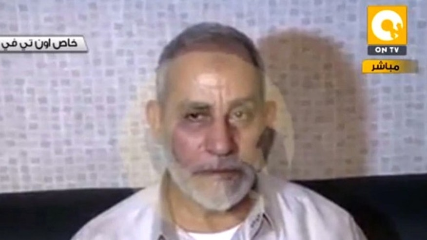 Aug. 20, 2013: In this image taken from Egypt State TV,  Mohammed Badie, the supreme leader of the Muslim Brotherhood, is seen after being detained by Egyptian security in Cairo, Egypt.