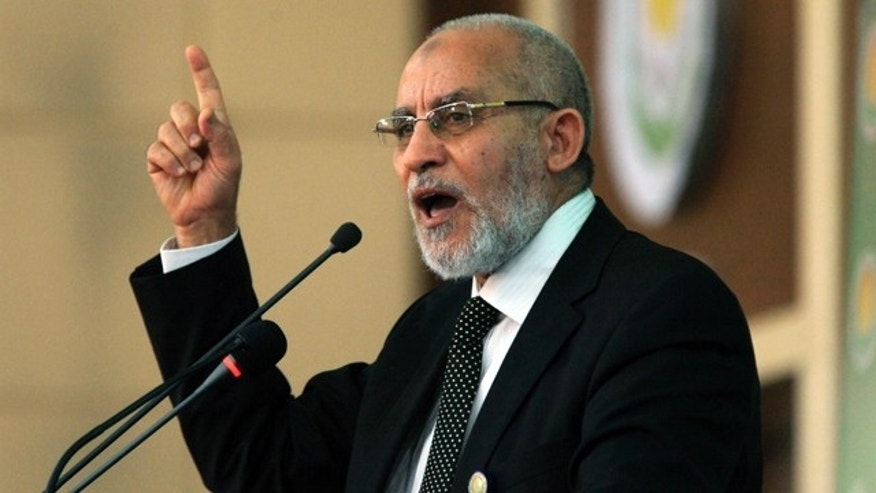 FILE: Egypt Islamic Leader Mohamed Badie addresses the 8th General Conference of Sudanese Islamic Movement in Khartoum.