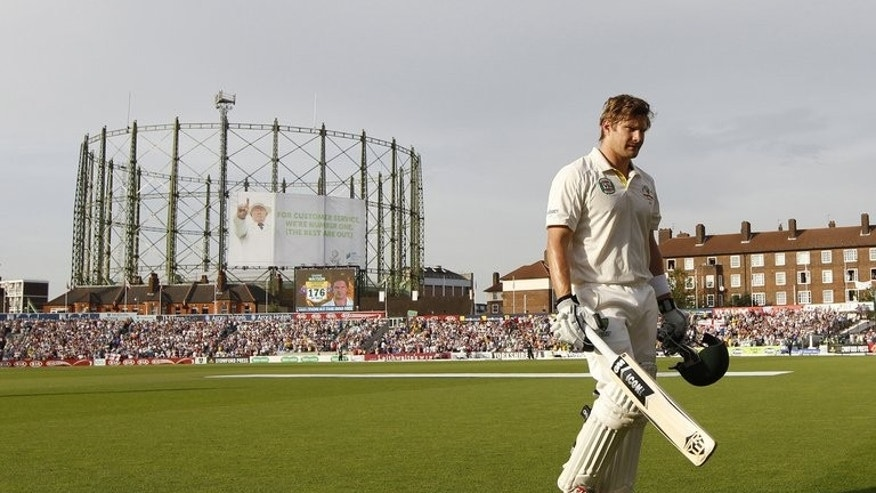 Australia's Shane Watson walks back to the Pavillion after losing his wicket for 176 runs on the first day of their fifth Ashes Test match, at The Oval cricket ground in London, on August 21, 2013. Sacked Aussie coach Mickey Arthur says Michael Clarke's team travelled to England with no belief they could win the Ashes.