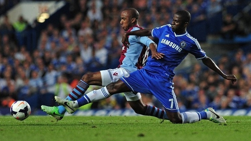 Chelsea's Brazilian midfielder Ramires (R) vies with Aston Villa's English midfielder Fabian Delph (L) during the English Premier League football match between Chelsea and Aston Villa at Stamford Bridge in London on August 21, 2013. Chelsea won 2-1.
