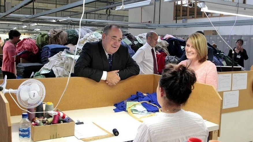 "Alex Salmond visits the Barrie Knitwear factory in Hawick, Scotland, on Tuesday. Ahead of a speech Wednesday pledging that an independent Scotland would take a vastly more pro-European approach than ""grumbling"" Britain, Salmond brushed aside respected US pollster Nate Silver's prediction that he had ""virtually no chance"" of winning."