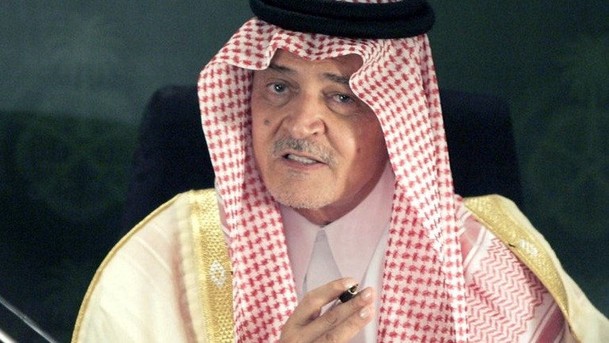 Saudi Foreign Minister Prince Saud al-Faisal gestures during a press conference held with US Secretary of State John Kerry in Jeddah, on June 25, 2013. Saudi Arabia and its Gulf allies are backing Egypt's new leaders because they see the political Islam espoused by ousted president Mohamed Morsi as a threat to their rule, experts say.