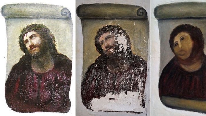 The original version of the painting Ecce Homo (L) by 19th-century painter Elias Garcia Martinez, the deteriorated version (C) and the restored version by an elderly woman in Spain (R). An 82-year-old Spanish woman whose botched restoration of a painting of Christ made her a global laughing stock is to reap nearly half the riches from worldwide merchandising of the monkey-like image.