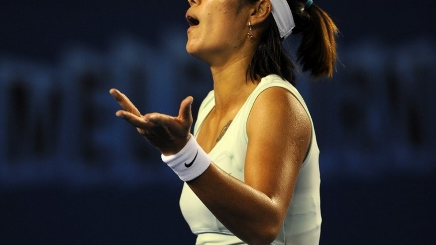 China's fiery tennis superstar Li Na, shown here in Melbourne in 2011, heads into next week's US Open eyeing a second Grand Slam crown but with questions over her temperament mounting in Chinese media after two furious outbursts.