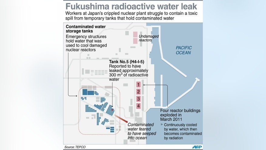 Graphic fact file on the storage tanks for radioactive water at Japan's stricken Fukushima nuclear power plant. Workers at the plant scrambled to check 300 tanks after one sprang a leak that is feared to have seeped into the Pacific.