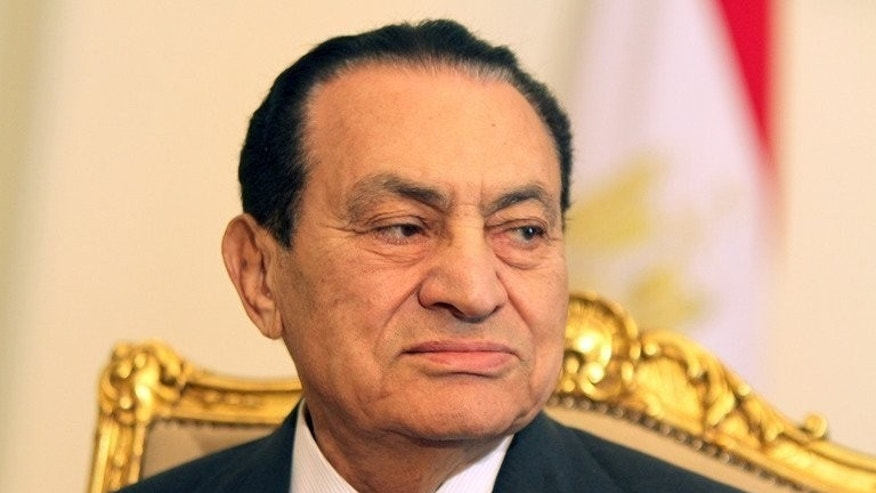 Egypt's then president Hosni Mubarak pictured at a meeting with UAE Foreign Minister Sheikh Abdullah bin Zayed al-Nahayan (unseen) in Cairo on February 8, 2011. Toppled dictator Hosni Mubarak left jail for under house arrest on Thursday but his release stirred little reaction as Egypt wrestles with the fallout from Islamist president Mohamed Morsi's ouster.
