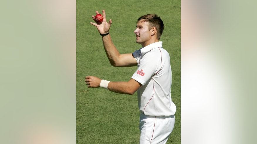 Zimbabwe's strike bowler Kyle Jarvis limbers up before Bangladeshi second innings, during a Test match at the Harare Sports Club, on April 27, 2013. Jarvis announced on Sunday that he was quitting international cricket in favour of a county contract.