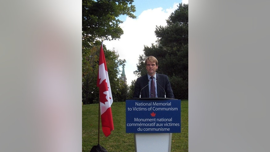 Canadian Immigration Minister Chris Alexander speaks in Ottowa on August 23, 2013. Alexander, who once worked at his country's embassy in Moscow, on Friday spoke out against a controversial Russian anti-gay law.