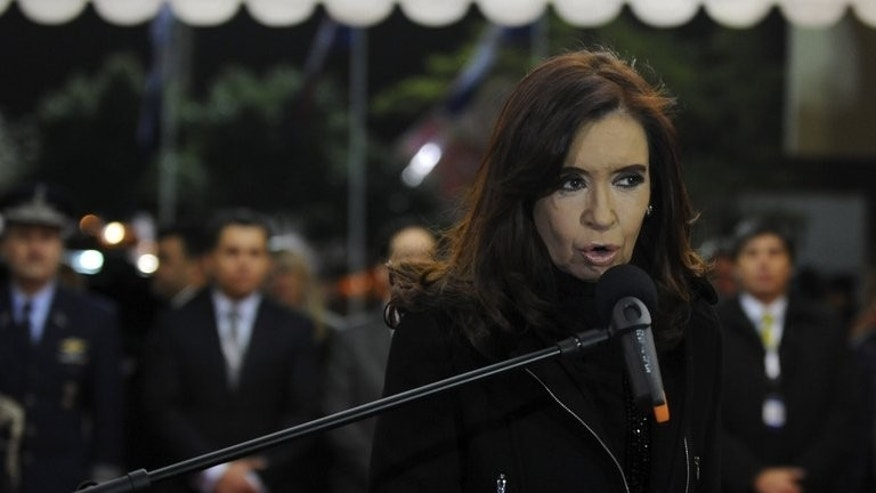 Argentine President Cristina Fernandez de Kirchner speaks on August 14, 2013. Four British oil companies carrying out exploration work near the Falkland Islands have been banned from operating in Argentina, the Buenos Aires government confirmed Friday.