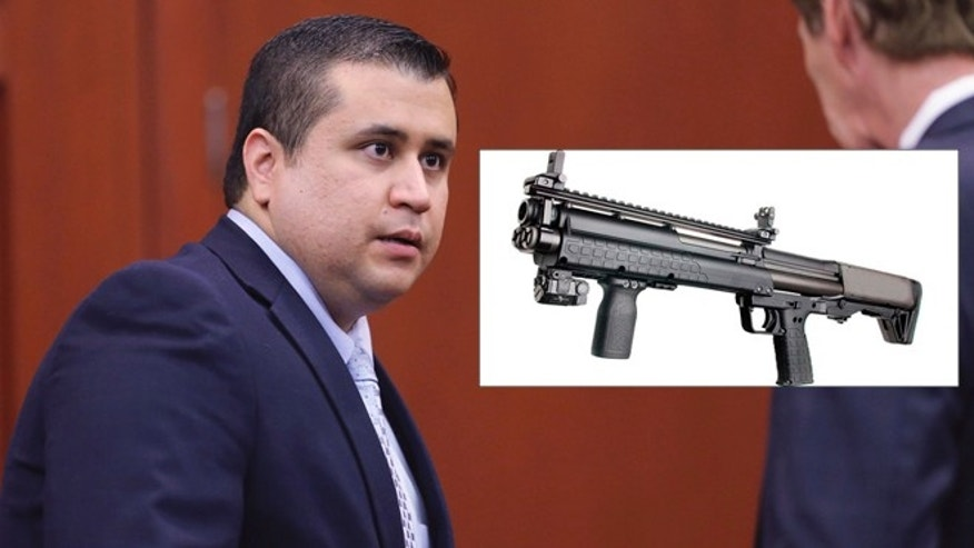 A photo composite of George Zimmerman during his trail for the murder of Trayvon Martin and a photo of the Kel-Tec KSG pump-action tactical shotgun. (Photo by Joe Burbank-Pool/Getty Images) (Wikicommons/Не указан).
