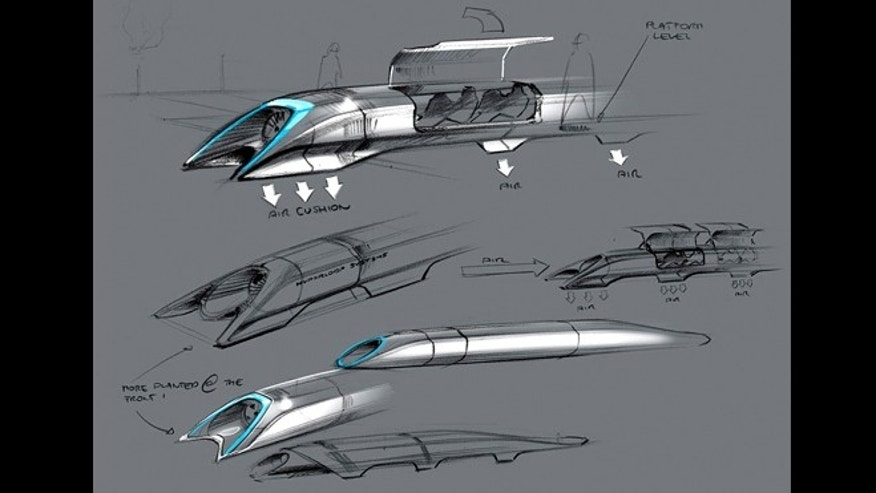 This image released by Tesla Motors shows a conceptual design sketch of the Hyperloop passenger transport capsule.
