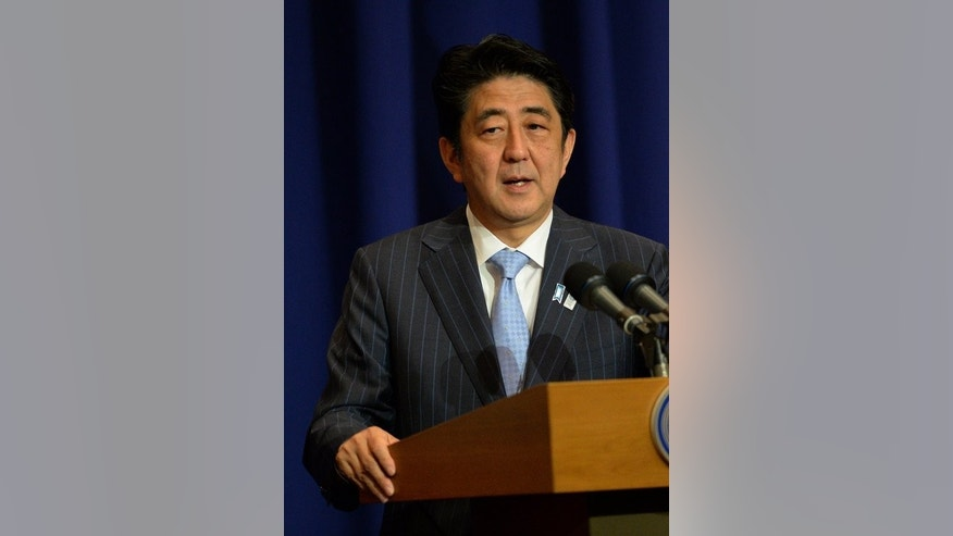 Japanese Prime Minister Shinzo Abe, pictured speaking on July 27, 2013. Abe will spend six days in the Middle East, discussing Japan's nuclear know-how.
