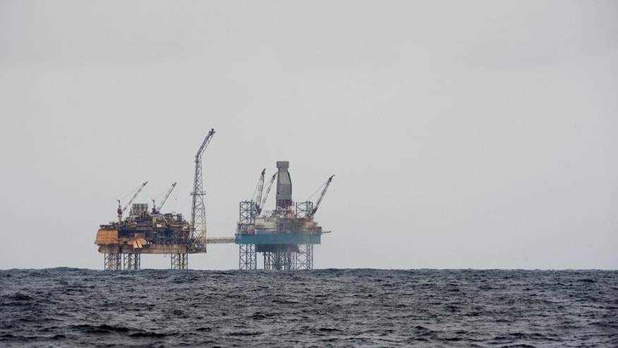 A rig, 150 miles (240 kms) from Aberdeen in eastern Scotland, in the North Sea is pictured on April 2, 2012. Three people remained unaccounted for on Friday after a helicopter transporting 18 people between oil rigs in the North Sea ditched, according to the Scottish coastguard.
