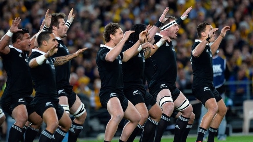 New Zealand's All Blacks perform the Haka prior to the start of their Rugby Championship/Bledisloe Cup Test match against the Australian Wallabies, in Sydney, on August 17, 2013. All Blacks won 47-29 and are hosting the Wallabies in Wellington for their next match, on Saturday.