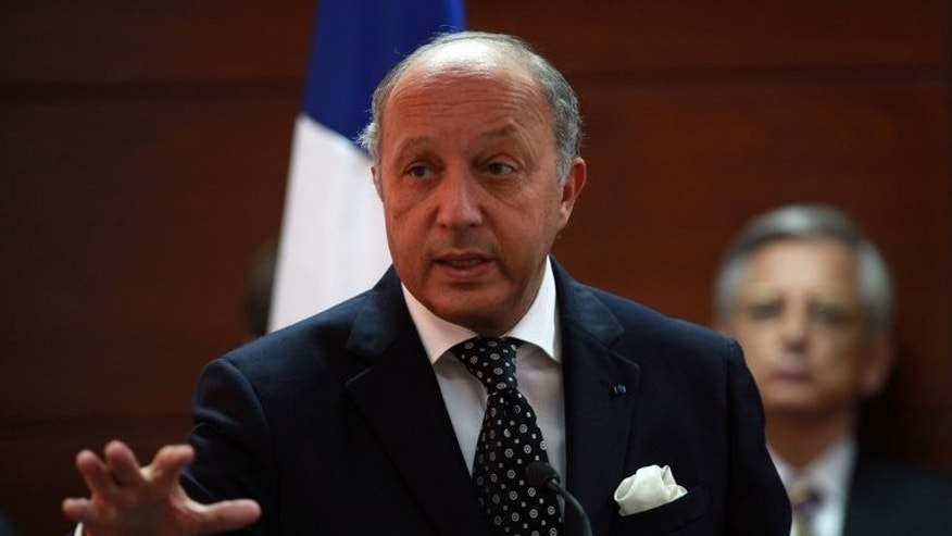 "French Foreign Minister Laurent Fabius speaks at a press conference on August 24, 2013 in the West Bank city of Ramallah. Fabius said all indications showed that Syria's government was behind a ""chemical massacre"" near Damascus that the opposition claims killed hundreds."