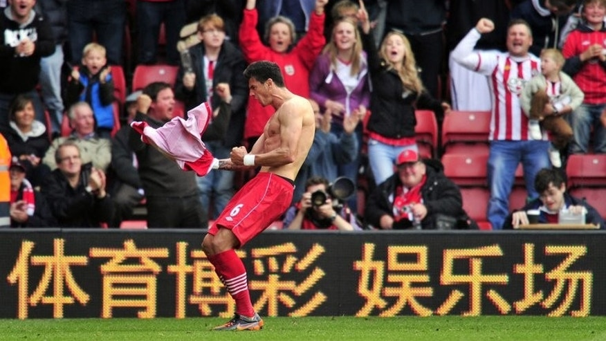 Southampton's Portuguese defender Jose Fonte celebrates scoring at St Mary's Stadium in Southampton, southern England on October 7, 2012. Fonte scored an 88th-minute equaliser to earn Southampton a 1-1 draw at home to Sunderland in the Premier League on Saturday.
