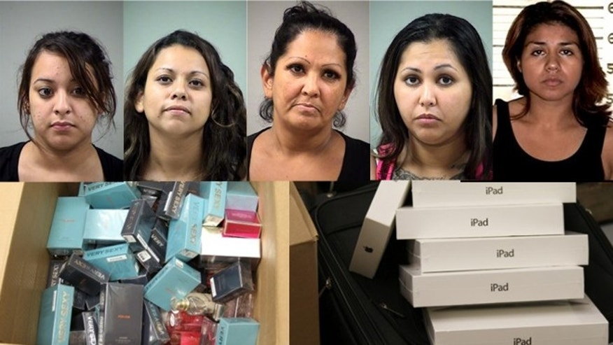 From left to right: Cassandra Arenas, 23,  Christian Salazar, 28 Eva Salazar, 48, Emily Garcia, 26, and Piedad Perez, 32 were arrested by the San Antonio Police Department for shoplifting.